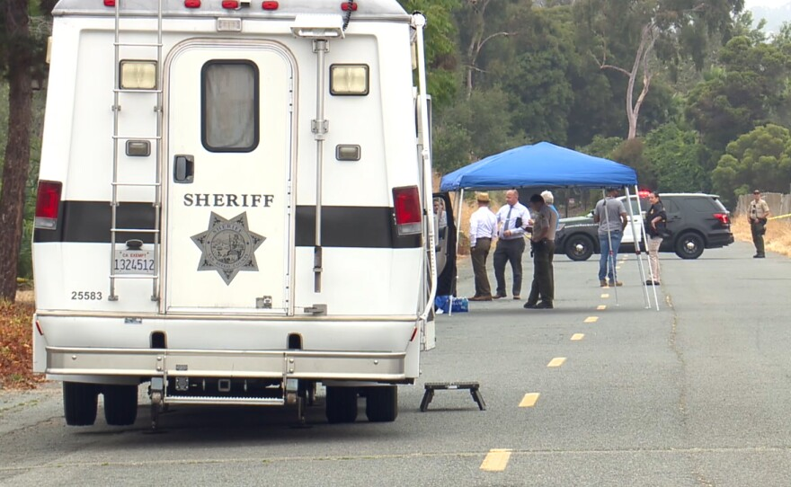 San Diego Sheriff's Department personnel at the scene of a fatal shooting in Encinitas, June 18, 2021.