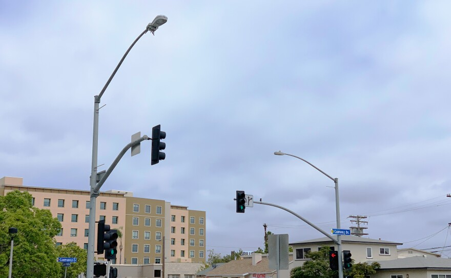 A smart streetlight located near the entrance of the San Diego State University campus is pictured June 4, 2019.