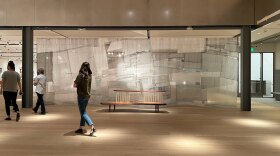 """Christina Kim's textile work """"liquid2solid' is shown installed at the Mingei International Museum in an Aug. 30, 2021 photo."""