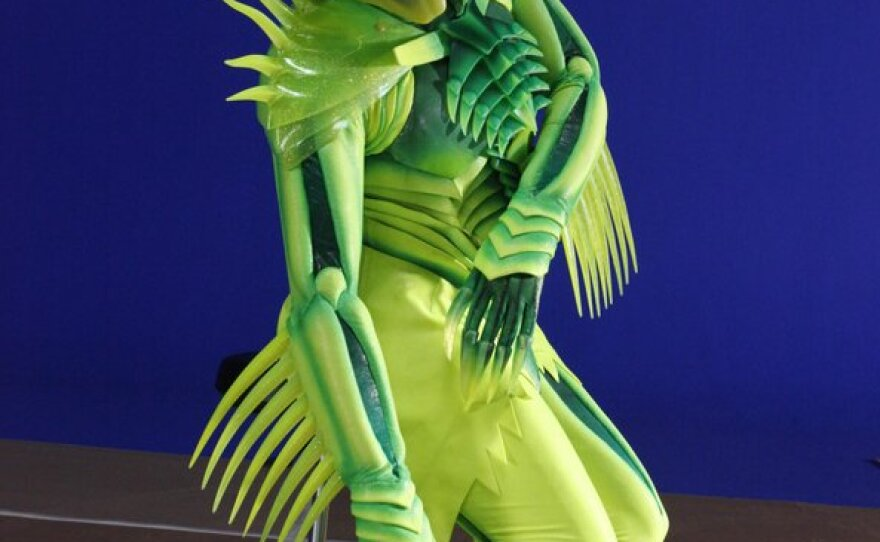 """The Green Goblin costume worn by Old Globe veteran actor Patrick Page, who's wearing it in the Broadway show """"Spider-Man: Turn Off the Dark."""""""