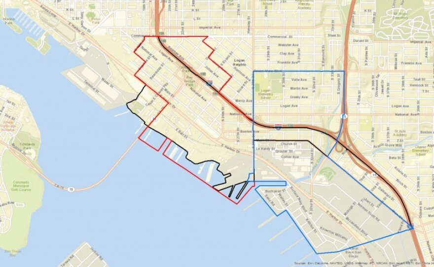 Two voting precincts encompass nearly all the residential areas of Barrio Logan (outlined in black). The precinct outlined in red contains most residential areas. The precinct outlined in blue contains nearly all the remainder.