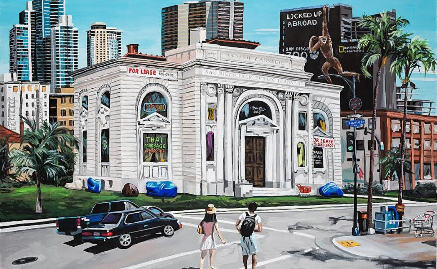 """Artist Jean Lowe's painting """"Carnegie Library, 2014"""" on view now at the La Jolla Historical Society's exhibit """"What Was Is."""""""