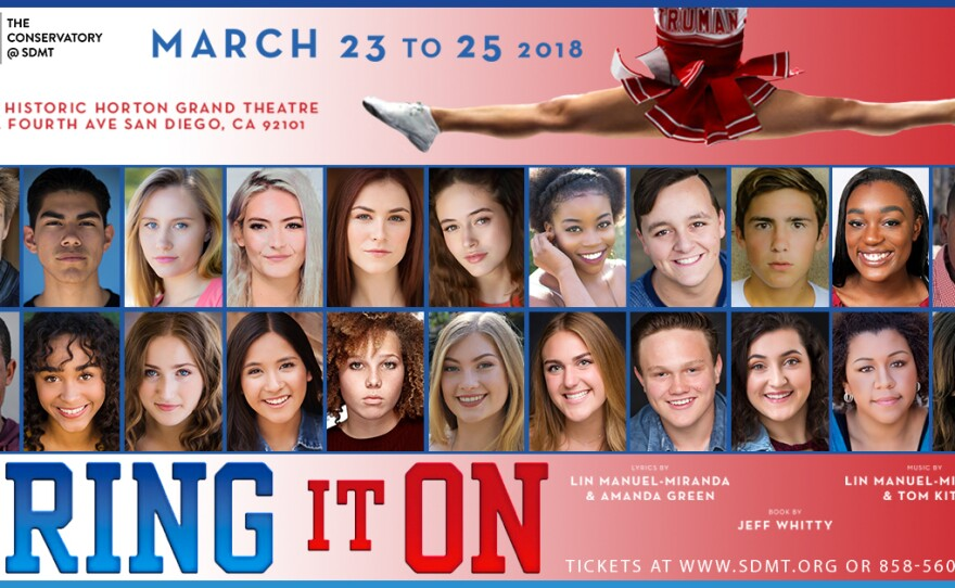 """A promotional poster for San Diego Musical Theatre's """"Bring It On."""""""