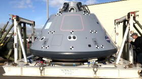 A replica of the Orion capsule sits at Naval Base San Diego after a week of testing in the Pacific Ocean, Jan. 25, 2018.