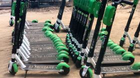 A group of Lime scooters are parked in preparation for removal from San Diego, Jan. 9, 2020.
