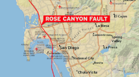 This map shows the Rose Canyon Fault that cuts through the heart of the city of San Diego, stretches across La Jolla and continues north along the coast.