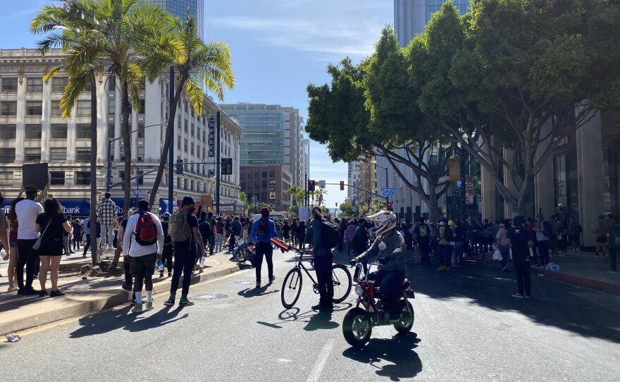 Police fire tear gas at protesters in downtown San Diego, May 31, 2020.