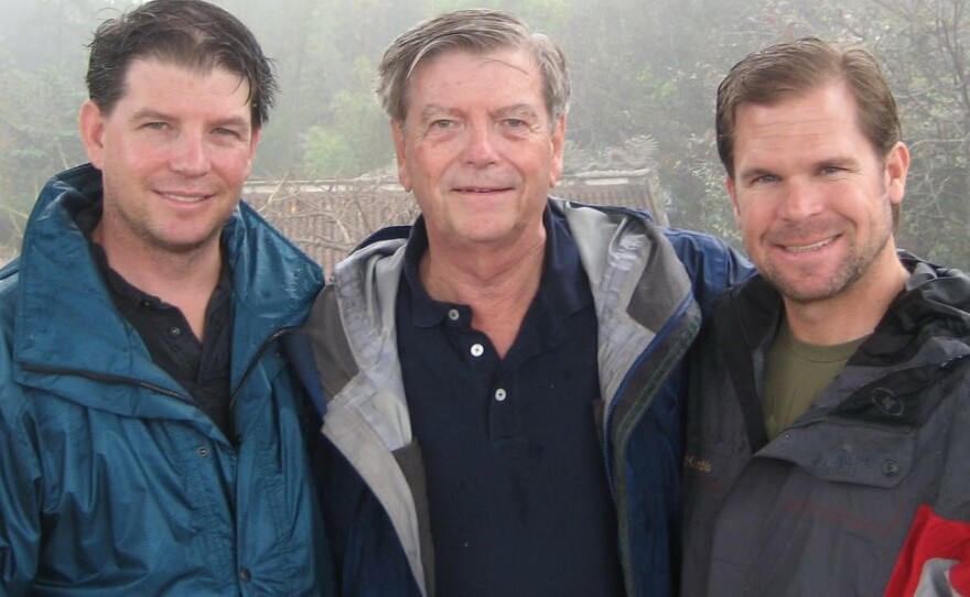 From left, Brett Davis, his father, Ron, and Craig Zimmer are shown in Vietnam in 2009. They were there searching for evidence in the 1969 plane crash of Zimmer's father, Marine Capt. Jerry Zimmer, whose plane was shot down in Da Nang, South Vietnam, during the war. The pilot is listed as missing in action.