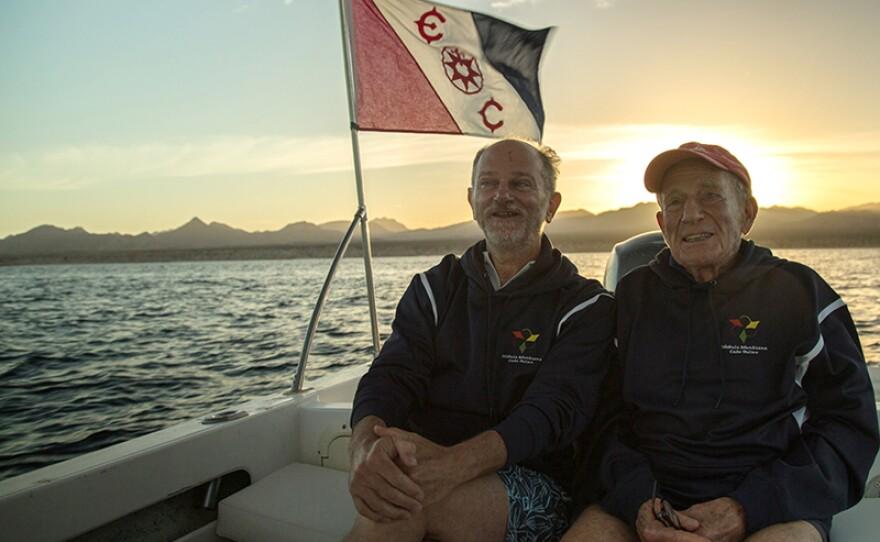 Walter Munk and Giuseppe Notarbartolo in Cabo Pulmo, east coast of Mexico's Baja California Peninsula.