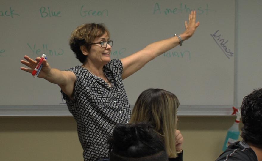Cuyamaca College math teacher Terrie Nichols quizzes her students, Aug. 28, 2017.