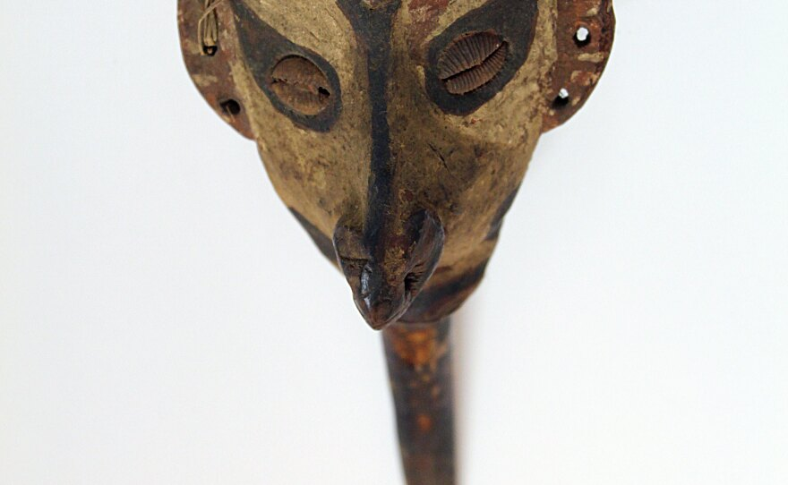 """A bone dagger artifact from Papua New Guinea mid 20th century on display at the """"Cannibalism: Myths and Reality"""" exhibit at the San Diego Museum of Man."""