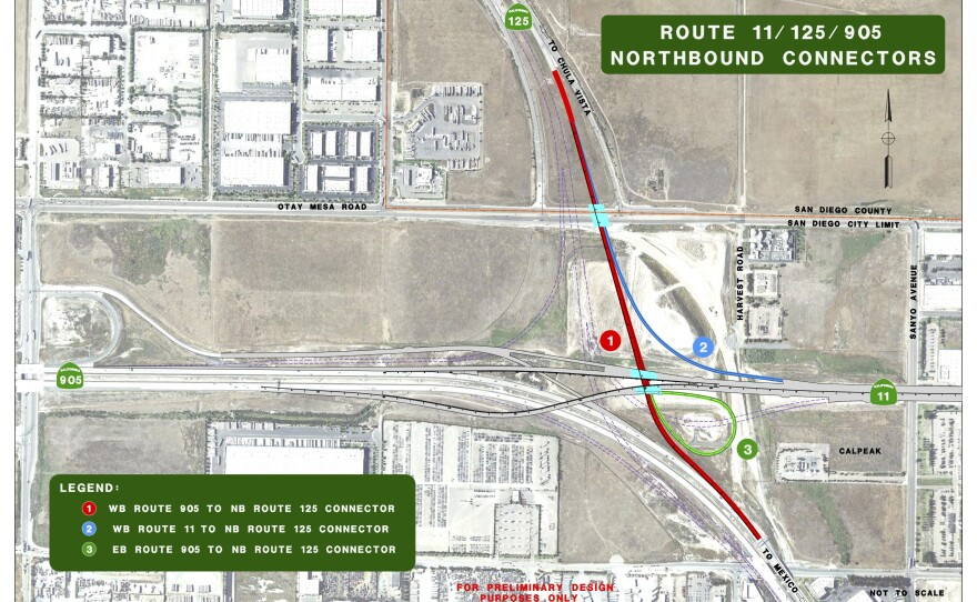 A map of a border infrastructure project that will link SR 905 and the future SR 11 to northbound SR 125.