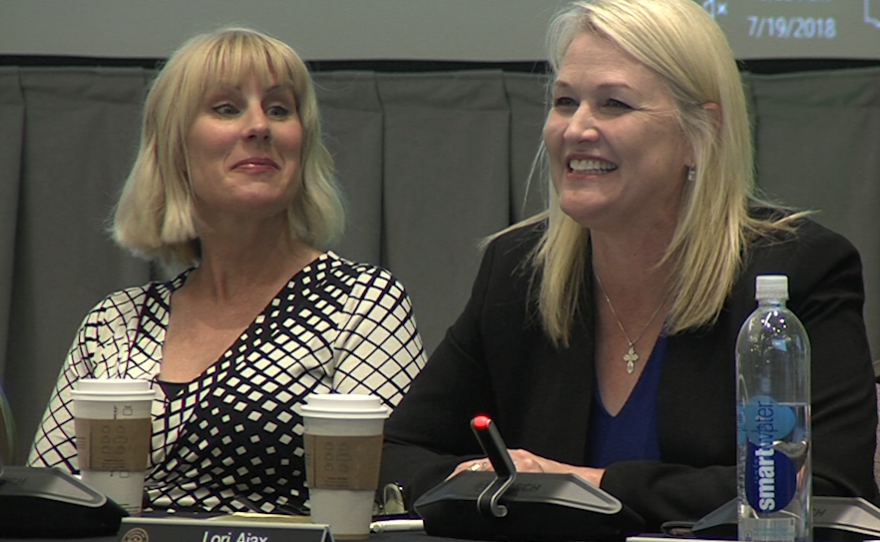 California Bureau of Cannabis Control Chief Lori Ajax, right, speaks during a meeting of the Cannabis Advisory Committee in San Diego, July 19, 2018.
