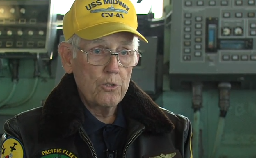 Vernon Jumper, Midway's air boss, is pictured on the aircraft carrier, April 23, 2015.
