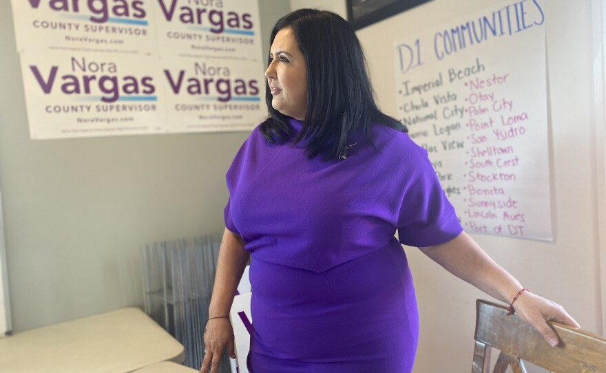Nora Vargas, a candidate for San Diego County's first supervisorial district, stands in her Chula Vista home, which she has transformed into her campaign headquarters, Jan. 28, 2020.