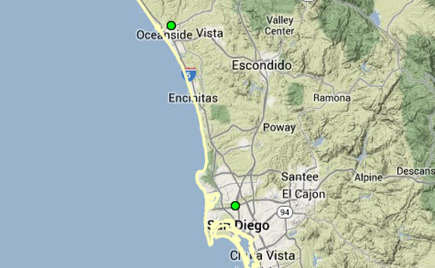 This National Weather Service map shows shows the locations of the Santa Margarita River, San Luis Rey River and San Diego River. The green dots represent the river levels are normal.