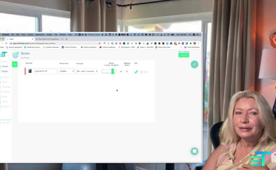 Marni Melrose demonstrating her app, EntireTask, in this undated still from EntireTask tutorial video.