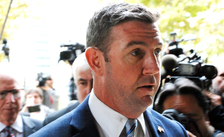 Rep. Duncan Hunter arrives at the federal courthouse in downtown San Diego, Dec. 3, 2019.