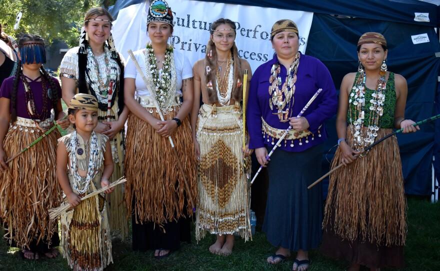"Young Native American women participate in a Hupa ""Flower Dance"" in Sacramento, 2018."