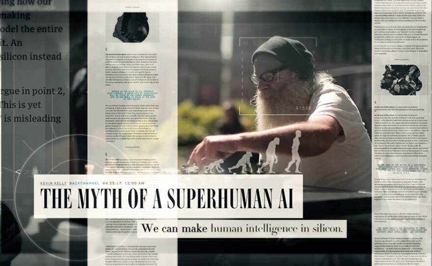 """Newspaper headline reads """"The Myth of a Superhuman AI - We can make human intelligence in Silicon."""""""