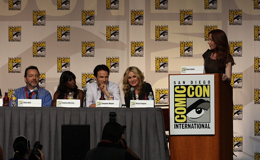 Anna Paquin, Stephen Moyer, Rutina Wesley and Alan Ball on the True Blood panel at Comic-Con, 2009