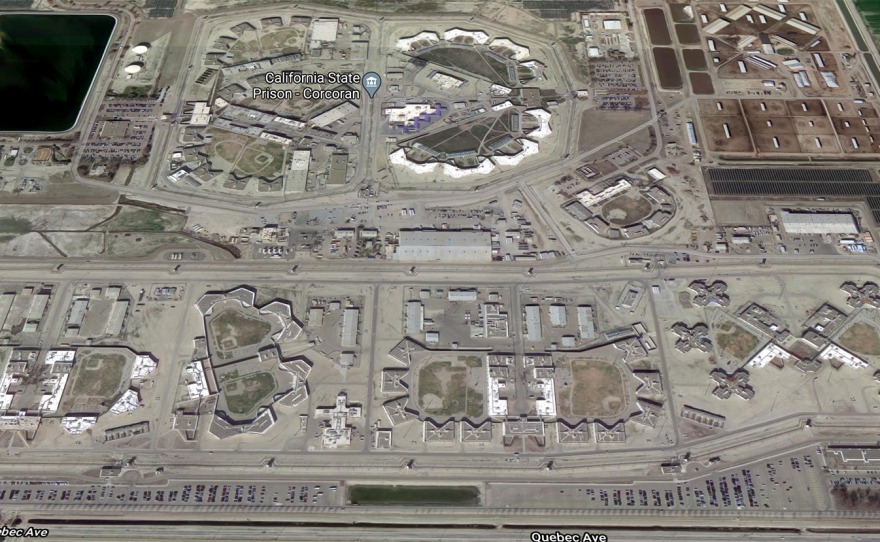 The Corcoran State Prison is shown in this undated aerial photo. Inmates at its Substance Abuse and Training Facility had their privacy breached during a UC San Diego research study.