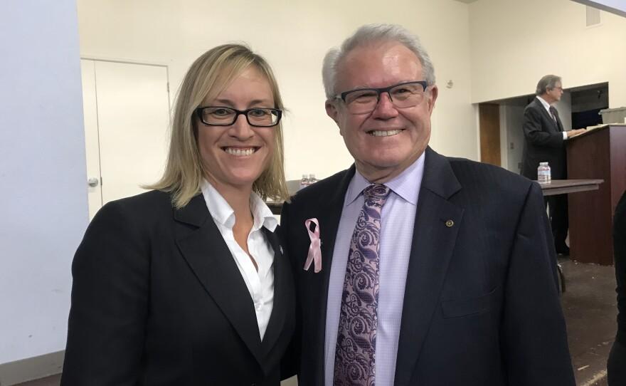 Carlsbad City Councilwoman Cori Schumacher and Mayor Matt Hall, following mayoral forum, Oct. 8, 2018.