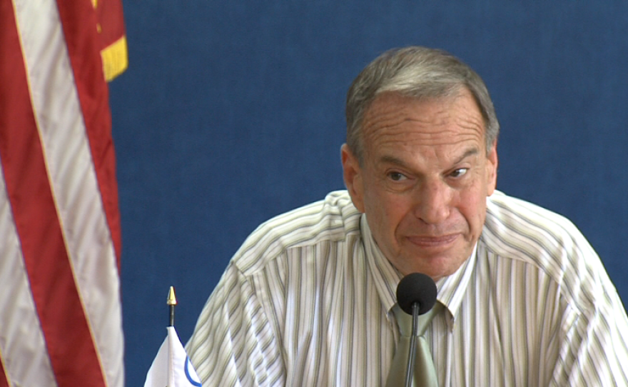 Mayor Bob Filner talks to reporters about his proposed budget.