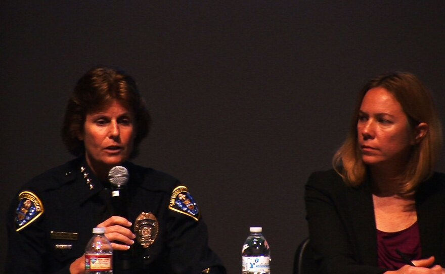 San Diego Police Chief Shelley Zimmerman and Margaret Dooley-Sammuli, the ACLU of San Diego & Imperial Counties' policy director, talk on a community panel about police body cameras. October 14, 2014.