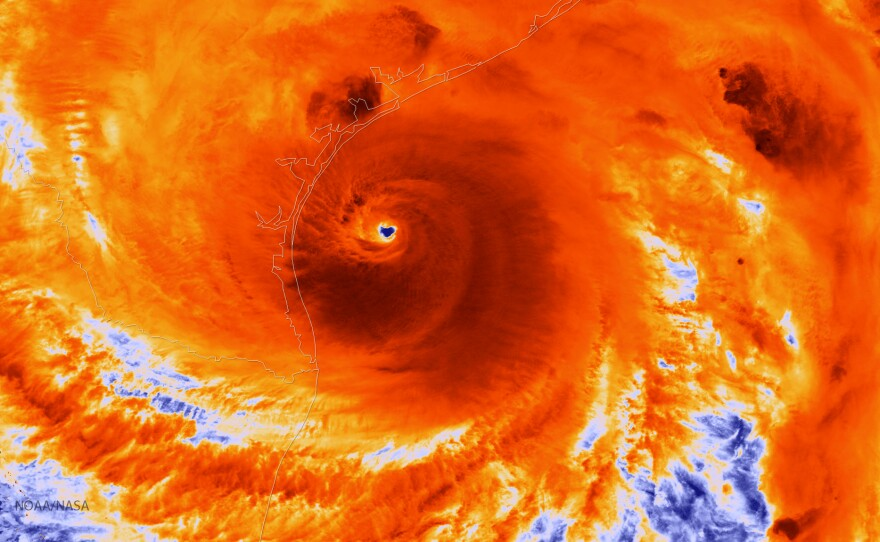 An infrared satellite image shows Hurricane Harvey just prior to making landfall on Aug. 25, 2017. Warm water in the Gulf of Mexico fed heavy rains, according to new research.