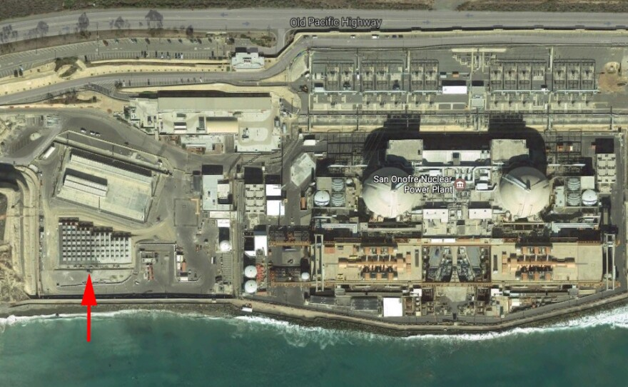 Google Earth graphic showing new location of nuclear waste storage site at the San Onofre Nuclear Power Plant (bottom left corner).