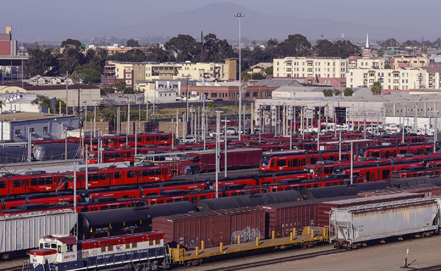 A view of the San Diego trolley yard at 12th Street and Imperial Avenue in the East Village, June 1, 2014.