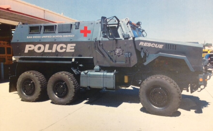 A photo of the 2013 Caiman MRAP acquired by the San Diego Unified School District Police Department. The decals have been digitally rendered onto the vehicle.