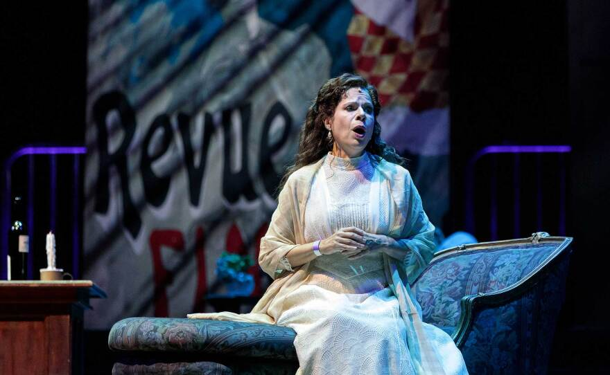 """Ana María Martínez is the cold-handed Mimì in San Diego Opera's drive-in production of """"La Bohème"""" on October 24, 2020. Performances run through November 1."""
