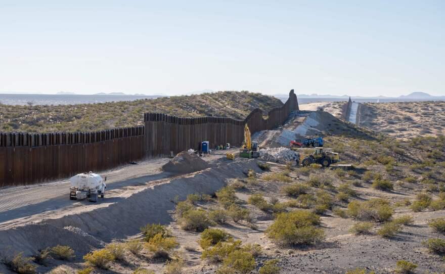 This photo shows the border fence under construction near New Mexico's Highway 9, near Santa Teresa.