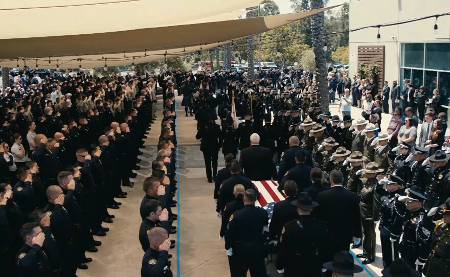 The funeral procession of Detectives Ryan Park and Jamie Huntley-Park at Maranatha Chapel in 4S Ranch, June 15, 2021.