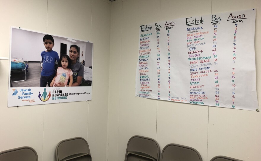 A sign to help migrants determine travel times is posted at a new migrant shelter in Linda Vista, Jan. 15, 2020.