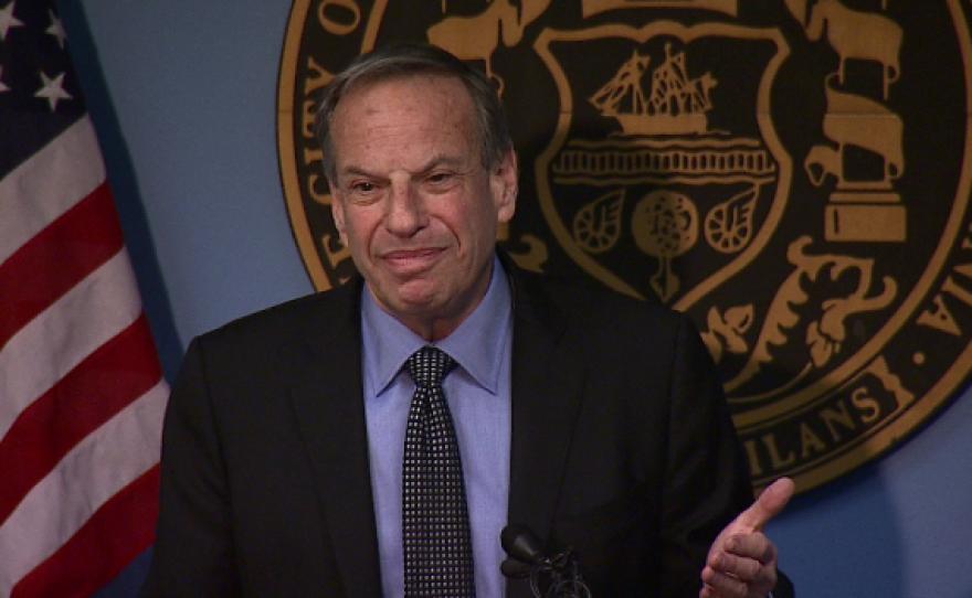 Mayor Bob Filner speaks after crashing a press conference held by City Attorney Jan Goldsmith.