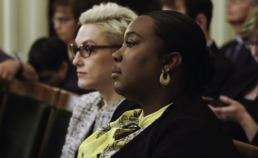 Previously incarcerated activist Kelli Dillon and Cynthia Chandler from Justice Now at hearing.