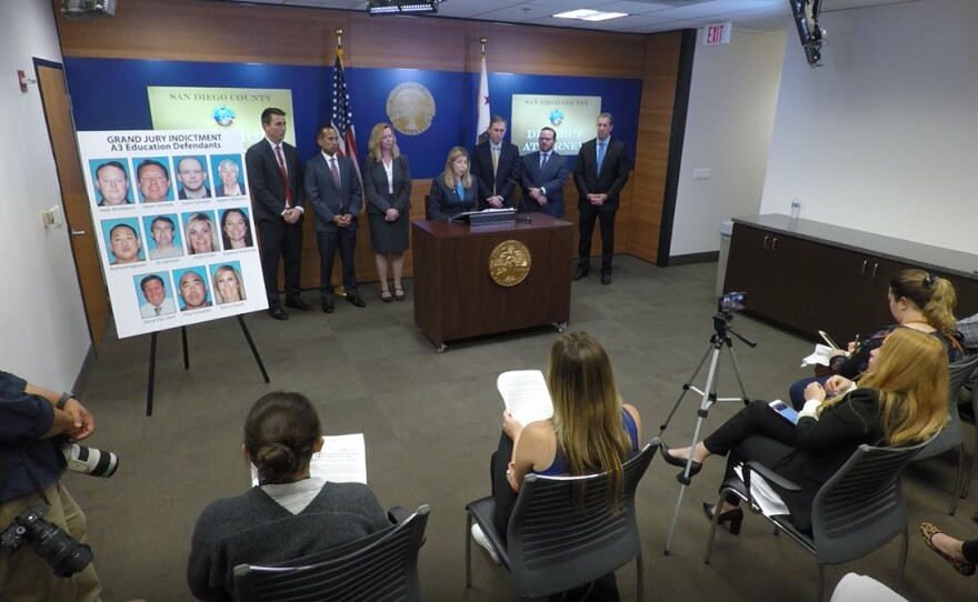 San Diego County District Attorney announces criminal charges against 11 people accused of conspiring to steal more than $50 million in public funds by defrauding the state, May 29, 2019.
