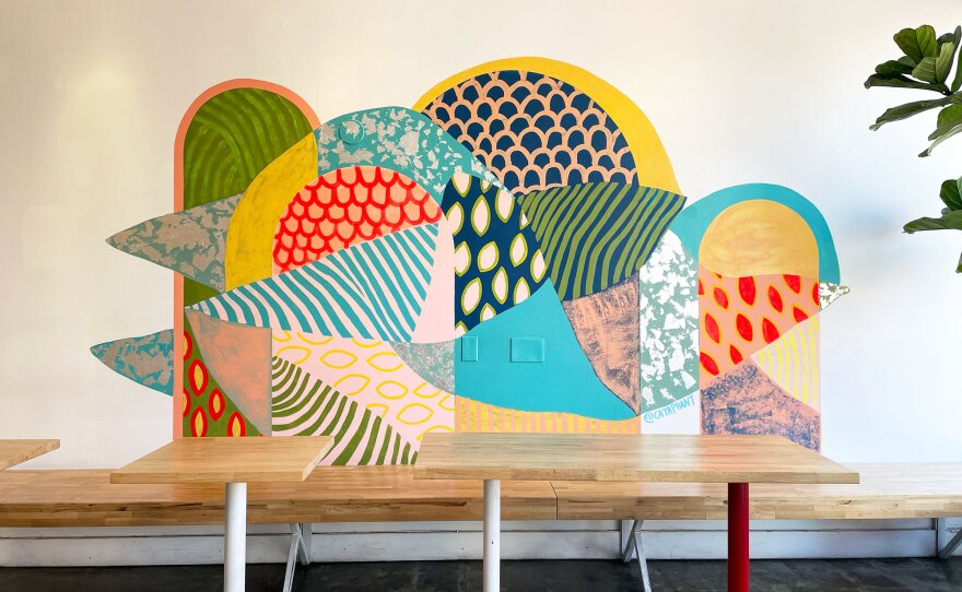 A mural at the North Park Coffee and Tea Collective by San Diego artist Cataphant is shown in an Aug. 6, 2021 photo.
