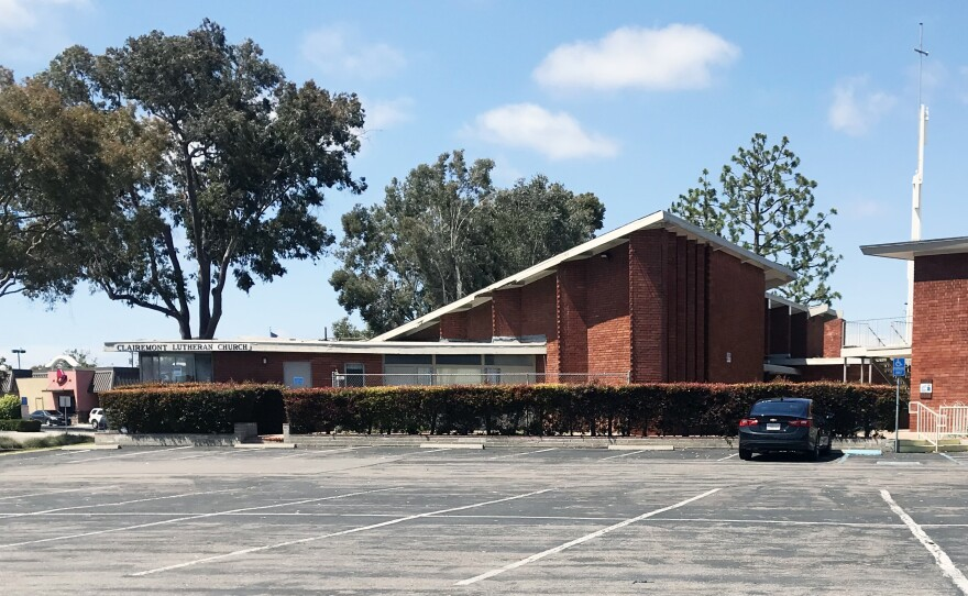 The parking lot of Clairemont Lutheran Church is seen here, May 28, 2019.