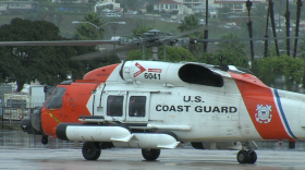 A Coast Guard helicopter lands at the San Diego Coast Guard Air Station, Feb. 23, 2017.