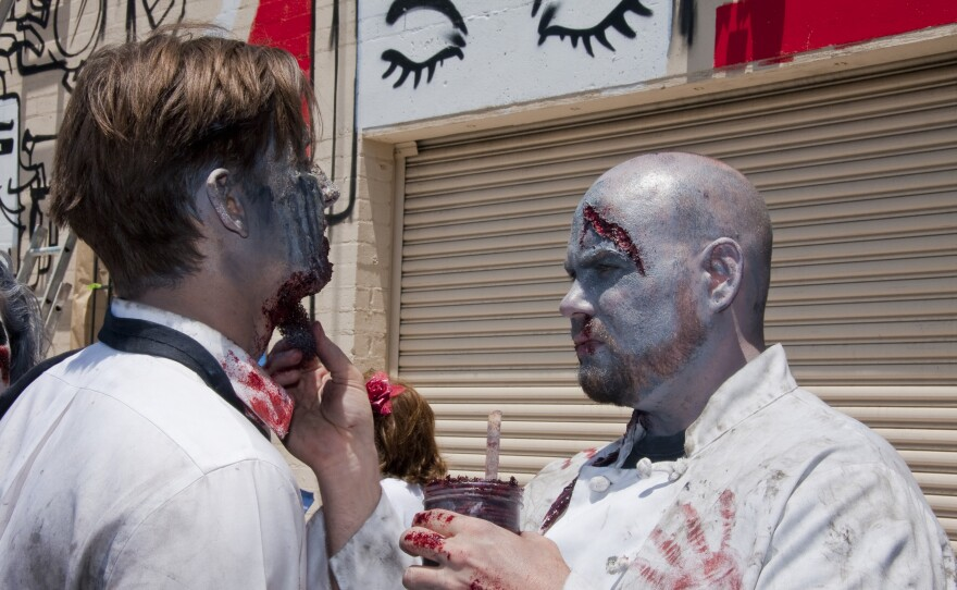 One good zombie turn deserves another, Andy Trimlett and Lee Dunteman on location for the zombie invasion.