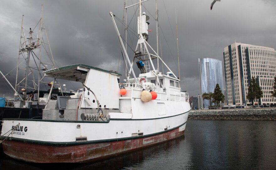 Boats remain docked in San Diego's Tuna Harbor, March 18, 2020.