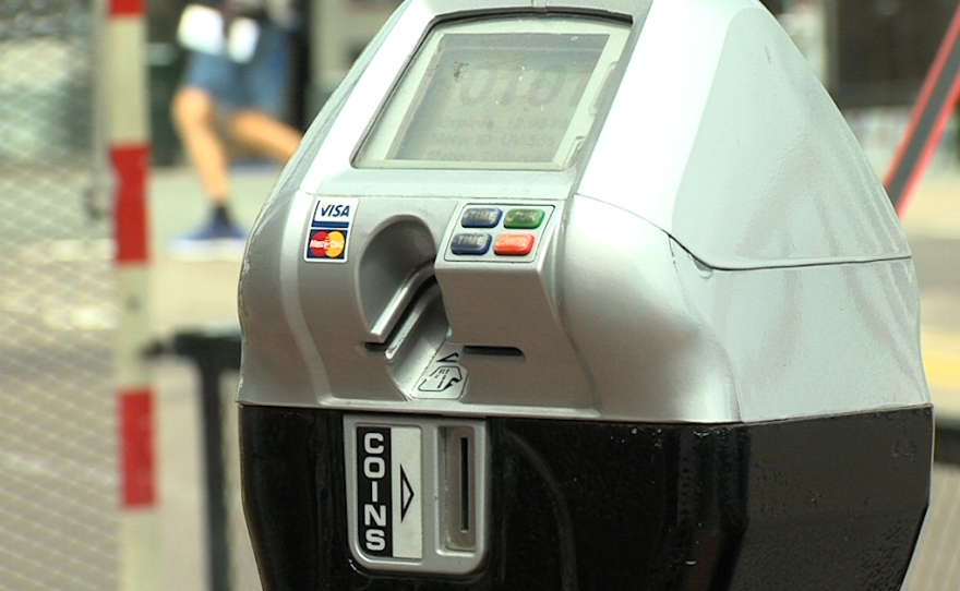A parking meter is seen in Hillcrest, April 3, 2017.