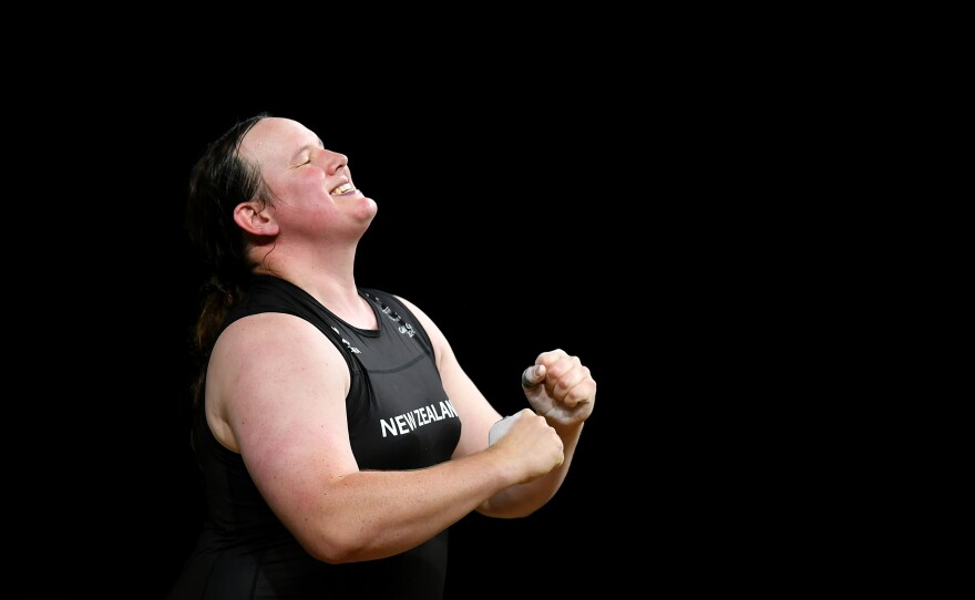 New Zealand weightlifter Laurel Hubbard celebrates completing a lift at the 2018 Commonwealth Games in Australia. Hubbard has been named to New Zealand's team at the Tokyo Olympics.