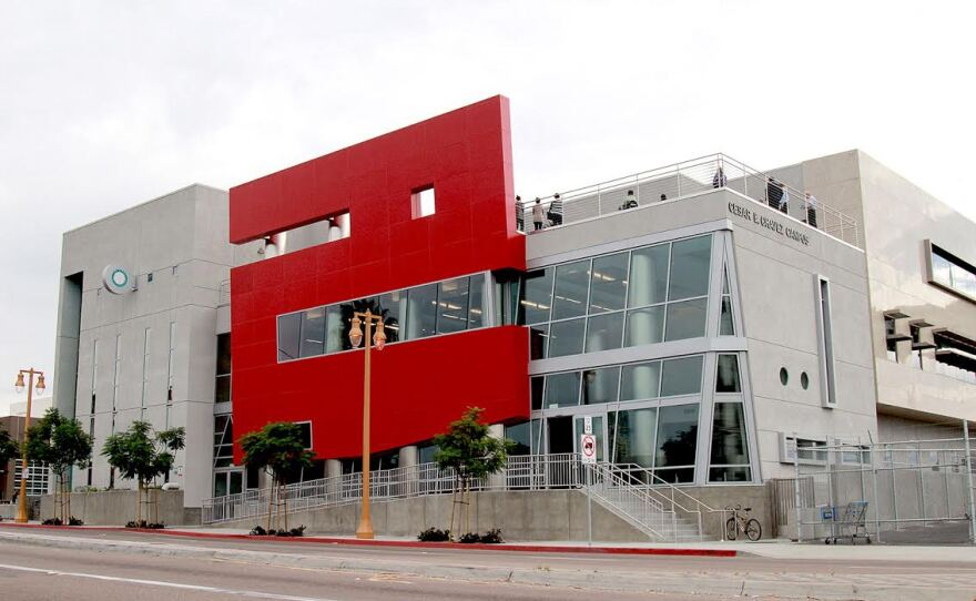 The San Diego Community College District's Cesar Chavez Campus building stands at 1901 Main St., Oct. 28, 2015.