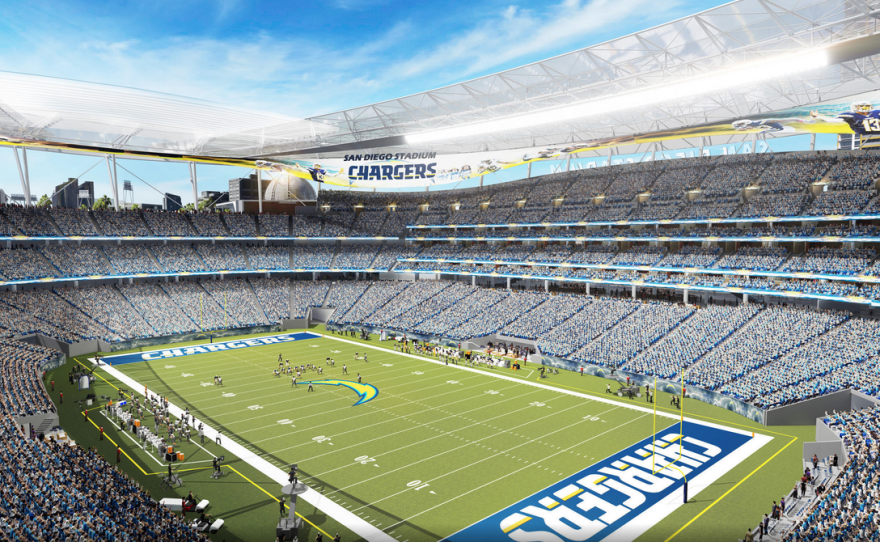 A concept design of a proposed Chargers stadium in downtown San Diego is shown in this undated photo.