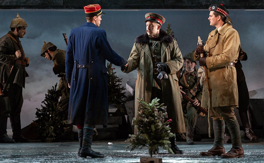 """San Diego Opera presents """"All Is Calm: The Christmas Truce Of 1914,"""" a co-production with Bodhi Tree Concerts and SACRA/PROFANA, Dec. 7, 8, and 9, 2018. Part of the Detour Series. (This photo comes from a 2018 production of """"Silent Night"""" at Glimmerglass Opera which tells the same story.)"""